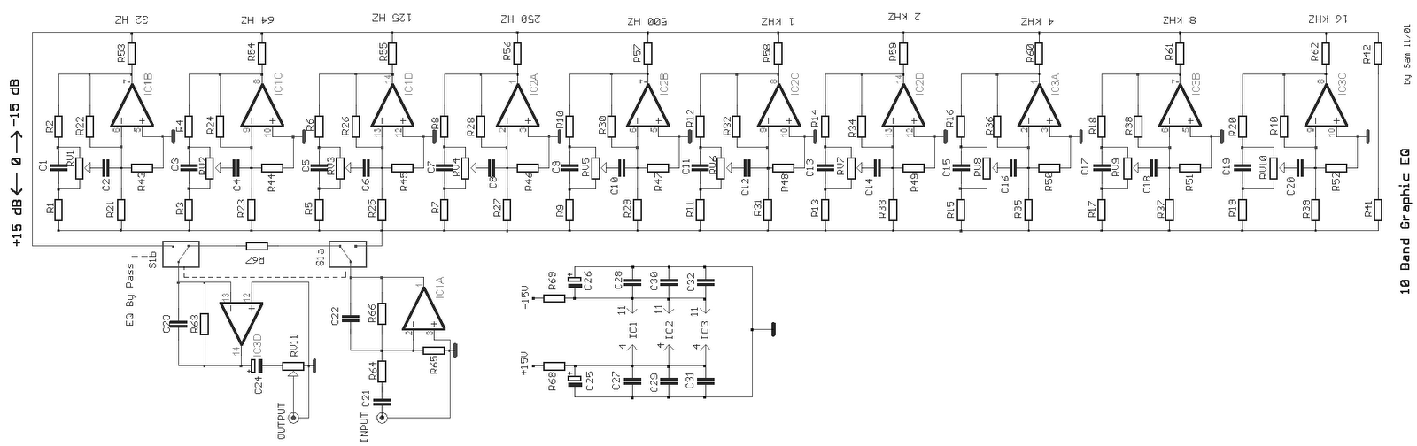 5 Band Graphic Equaliser Circuit Diagram - Electricity Site  Band Eq Schematic on rickenbacker 4003 schematic, master volume schematic, fuzz pedal schematic, headphone jack schematic, delay schematic, switch schematic, power amp schematic, compressor schematic, phaser schematic, parametric equalizer schematic, solar charge controller schematic, chorus schematic, op-amp schematic, refrigeration system schematic, clean boost schematic, transformer schematic,